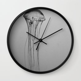 Black and White Jellyfish Art Photography, Drifting Through Time and Space Wall Clock