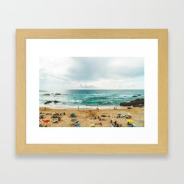 People Having Fun On Beach, Algarve Lagos Portugal, Tourists In Summer Vacation, Wall Art Poster Framed Art Print