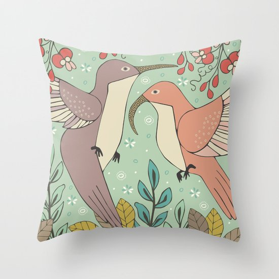 Dancing Hummingbirds Throw Pillow