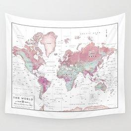 World Map Wall Art [Pink Hues] Wall Tapestry
