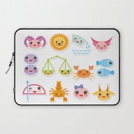Funny Kawaii zodiac sign, astrological stiker virgo, aries, gemini, cancer, aquarius, taurus,  leo Laptop Sleeve