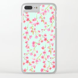 Cherry Blossom Pink Mint (for Mackenzie) Clear iPhone Case