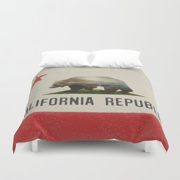 California Grizzly Bear Flag Duvet Cover