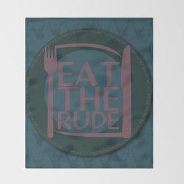 Eat The Rude (Navy) Throw Blanket