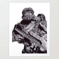 master chief Art Prints featuring Master Chief Pen Drawing by DeMoose_Art