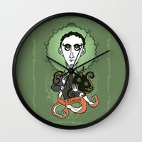 lovecraft Wall Clocks featuring Lovecraft Holy Writer by roberto lanznaster