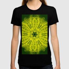 Bold yellow kaleidoscope on deep forest green T-shirt