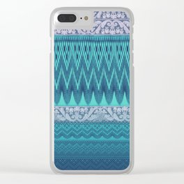 crochet mixed with lace in teal Clear iPhone Case