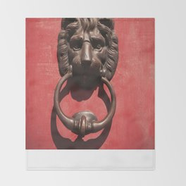 Red Door with Lion head  Throw Blanket