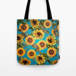 Vintage & Shabby Chic - Sunflowers on Turqoise Tote Bag