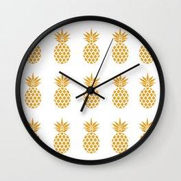 Golden Pineapples Wall Clock