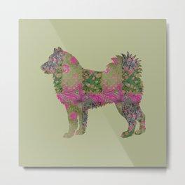 Alaskan Malamute Dog Vintage Floral Pattern Moss Green Hot Pink Metal Print