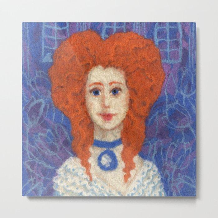Red Hair, ginger lady, rococo haircut, felt painting, fiber art Metal Print