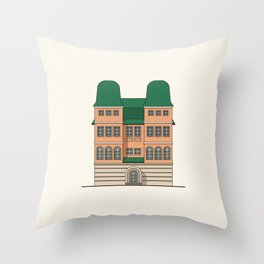 Brick house with towers Throw Pillow