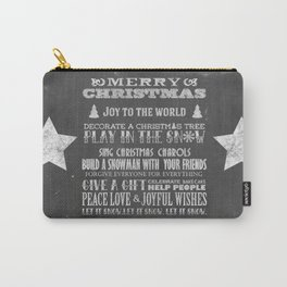 Christmas Chalk Board Typography Text Carry-All Pouch