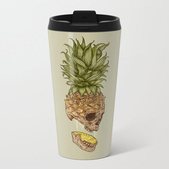 Pineapple Skull Metal Travel Mug