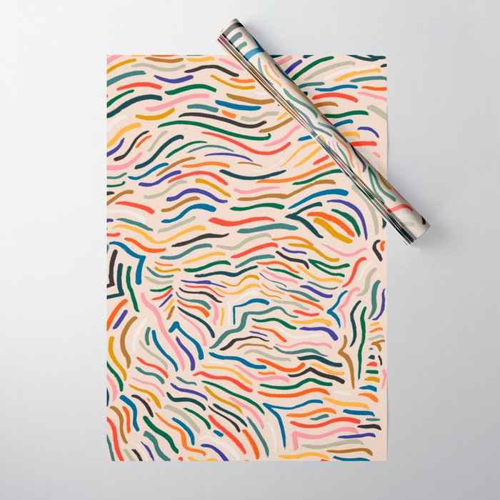 Wavy Vibes Modernist Palette Wrapping Paper