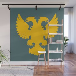 yellow double-headed eagle on a gray-blue background Wall Mural