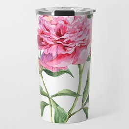 Beautiful watercolor pink peony Travel Mug