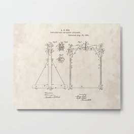 Elevator Cage and Safety Appliance Vintage Patent Hand Drawing Metal Print