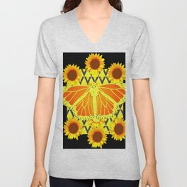 SUNFLOWERS & MONARCH BUTTERFLY BLACK GRAPHIC Unisex V-Neck