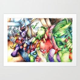 Monster Subway Art Print
