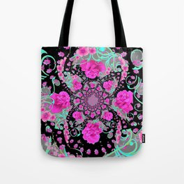 CERISE PINK ROSES & TURQUOISE RIBBONS ON BLACK Tote Bag