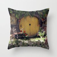 the hobbit Throw Pillows featuring The Hobbit by Cynthia del Rio