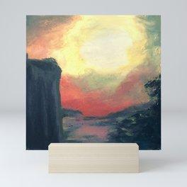 Old Acrylic Red Sunset Paint Mini Art Print