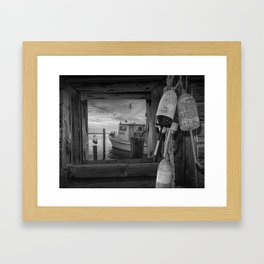 Black and White of Fishing Boat, Gulls and Fishing Bouys at Sunrise Framed Art Print