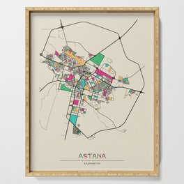 Colorful City Maps: Astana, Kazakhstan Serving Tray