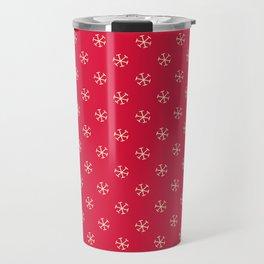 Cream Yellow on Crimson Red Snowflakes Travel Mug