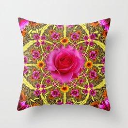 EXOTIC Decorative Yellow ART & Pink Roses Throw Pillow