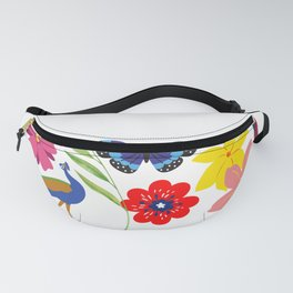 peacock butterfly and parrots Fanny Pack
