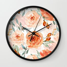 Living Coral Autumnal Roses Wall Clock