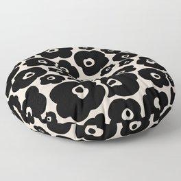 Retro Flower Pattern 125 Black and Linen White Floor Pillow