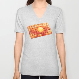 Waffle Pattern - Blue Unisex V-Neck
