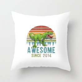 Awesome Since 2014 T-Rex Dinosaur 5. Year Birthday Throw Pillow
