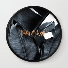 Tropical paradise - charcoal copper Wall Clock