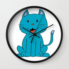 cat light blue Wall Clock