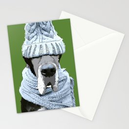 Great Dane ready for winter Stationery Cards