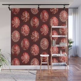 Realistic easter red dyed eggs pysanka Wall Mural