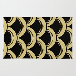 Japanese Fish Scales Black and Gold Rug