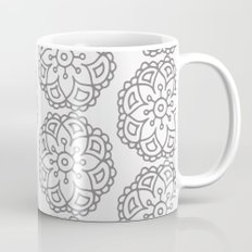 Silver grey lace floral Mug