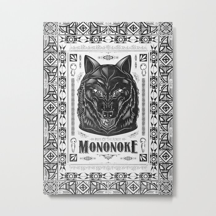 Mononoke Hime Wolf Pride Letterpress Line Work Metal Print