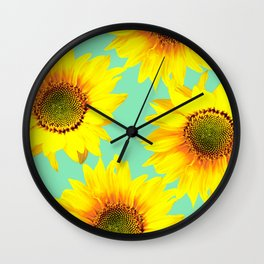 Sunflowers on a pastel green backgrond - #Society6 #buyart Wall Clock