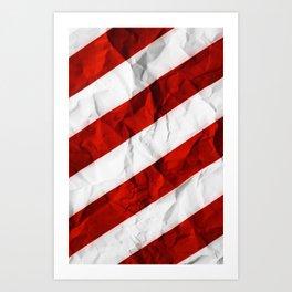 Crumbled Red Stripes Art Print