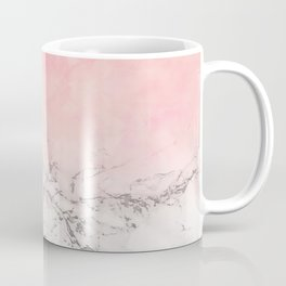 Modern blush pink watercolor ombre white marble Coffee Mug