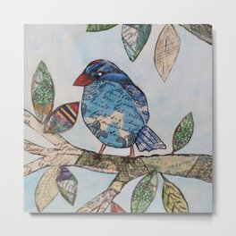 Mixed Media Blue Bird  Metal Print