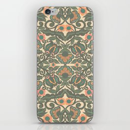 Green Vines Folk Art Flowers Pattern iPhone Skin